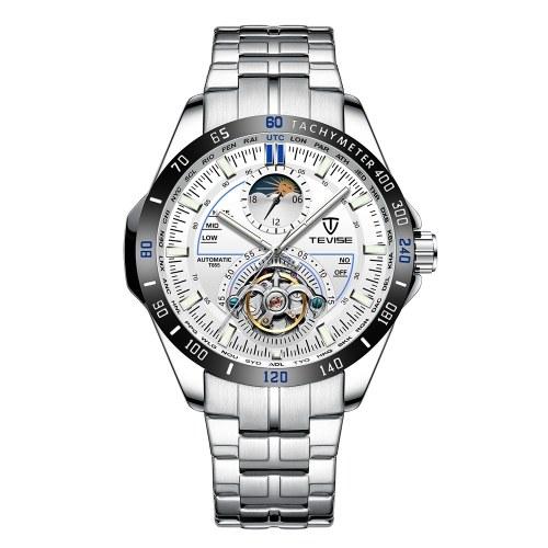 TEVISE Men Multifunctional Automatic Mechanical Watch Fashion Waterproof Big Dial Wrist Watch