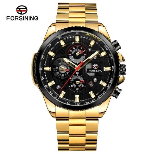Orologio da polso meccanico automatico impermeabile con orologio da polso analogico da uomo in acciaio inossidabile a tre quadranti