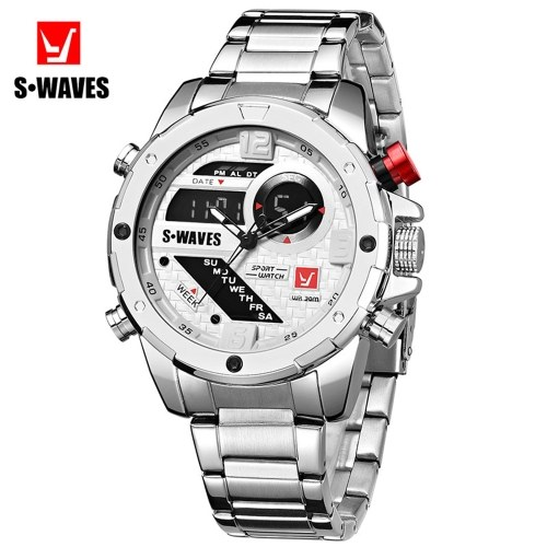 SWAVES SW2063 Men Quartz Watch Dual Core Stainless Steel Band Fashion Multifunction Wristwatch 3ATM Alarm Outpout Hourly Chime Snooze Function Chronograph Calendar Date Watches