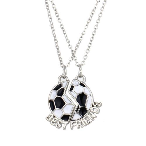 2pcs mejores amigos lindo fútbol fútbol colgantes collares conjunto con langosta corchete de la joyería fina personalizada regalo 45cm