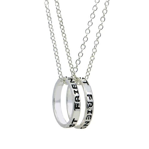 2pcs 'Mejores amigos' anillo de plata colgantes collares Set collar personalizado regalo de joyería fina para los amigos 45cm