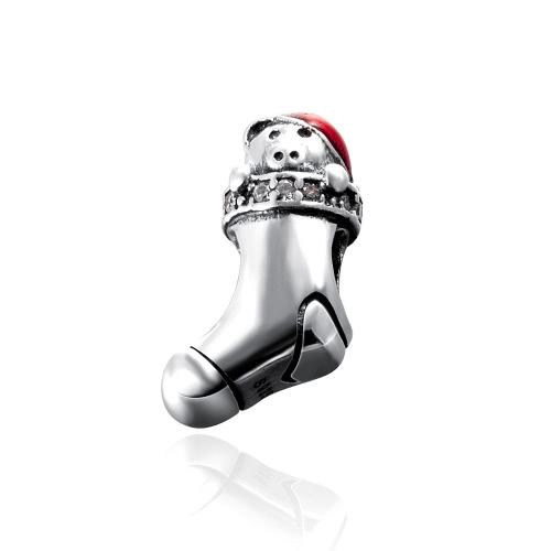 Romacci S925 plata electrochapada media perla con diamante CZ para 3mm Lucky Charm pulsera DIY mujeres fina joyería