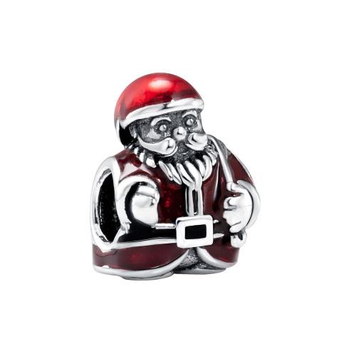 Romacci S925 plata lindo esmalte rojo Navidad Santa Claus encanto grano para 3mm pulsera brazalete regalo accesorio de la joyería DIY moda mujeres