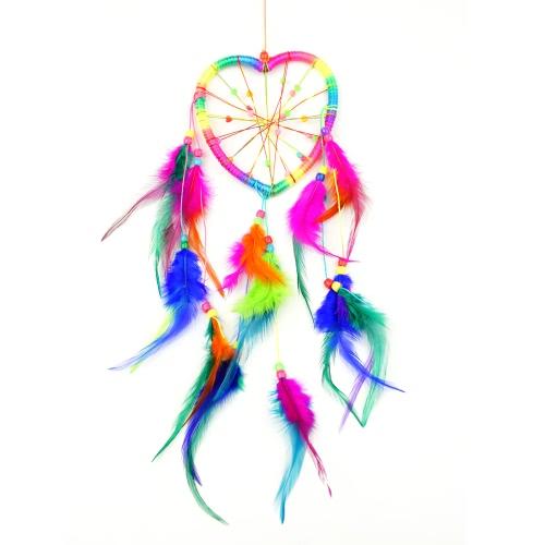 Dream Catcher colgante con cuentas de madera red Circular Turquía pelusa coche encanto carillones de viento estilo indio, plumas de color blanco hecho a mano puro