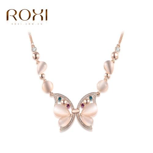 ROXI hermosa Rhinestone colorido de cristal Opal mariposa colgante collar cadena mujeres novia boda joyería