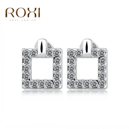 ROXI moda CZ Stud cuadrados geométricos pendientes de oro blanco plateado joyería de fiesta de boda para mujer niña