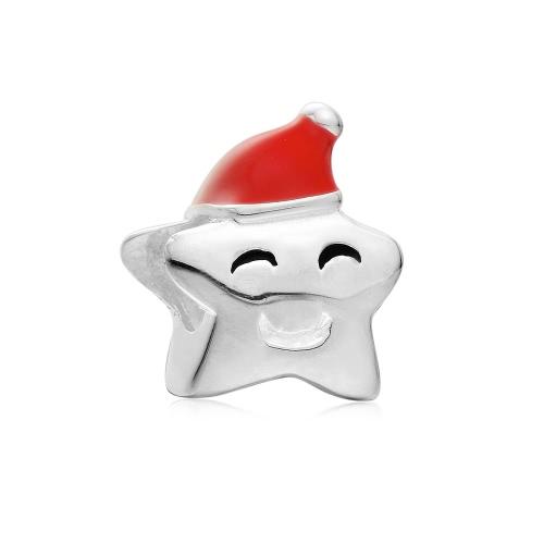 Romacci S925 plata Navidad Europea sonrisa grano estrellas encanto para serpiente de 3mm pulsera brazalete collar accesorio manera mujeres joyería DIY