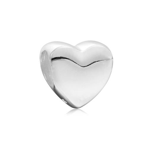 Romacci S925 Sterling Silver Heart Dangle Pendant Bead European Charm for 3mm Snake Chain Bracelet Bangle Necklace DIY Fine Women Jewelry Accessory