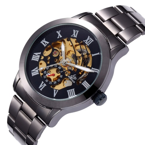 Shenhua Luxury Brand Skeleton Automatic Men Mechanical Wristwatch Stainless Steel Self-winding Business Man Casual Dress Watch