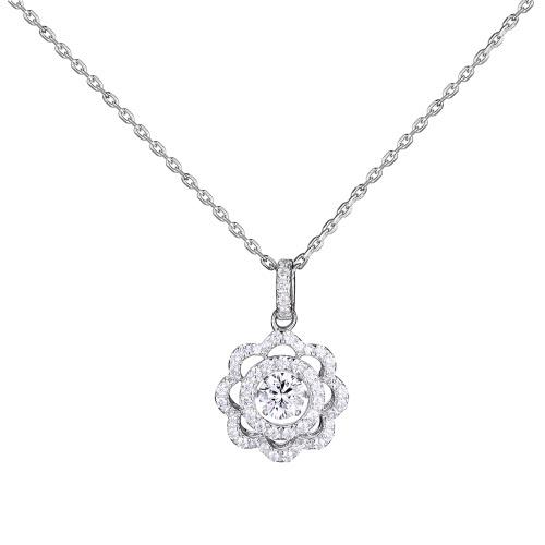 Plata JURE moda S925 colgante rotativo de la chispa Zirconia forma de flor colgante, collar de 18 pulgadas