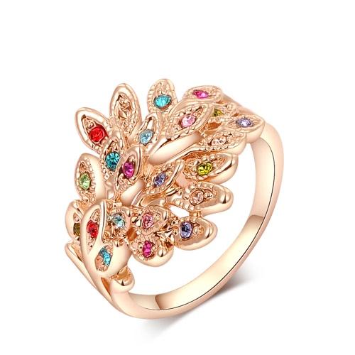 Roxi nuevo encanto de la manera caliente plateó el anillo con el Rhinestone cristalino colorido circones Mujeres regalo del partido de las muchachas