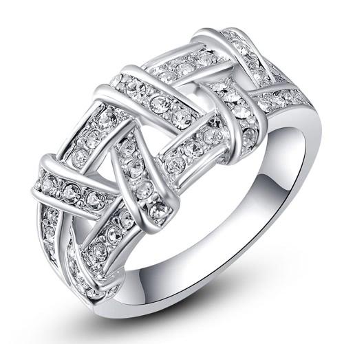 Roxi manera caliente de la nueva joyería plateó el anillo de la armadura de Oro Zircon Crystal Rhinestone para el regalo de boda de las mujeres