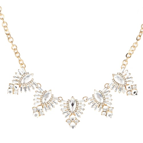 Fashion Unique Vintage Retro Metal Necklace Chain with Rhinestone Crystal Pendant Jewelry for Women Girls Gift Party