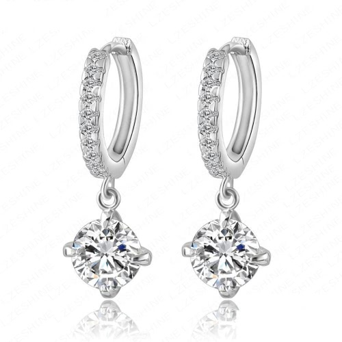 Fashion Graceful Copper Zircon Rhinestone Crystal Earring Ear Drop Dangle for Women Girls Gift Wedding Party