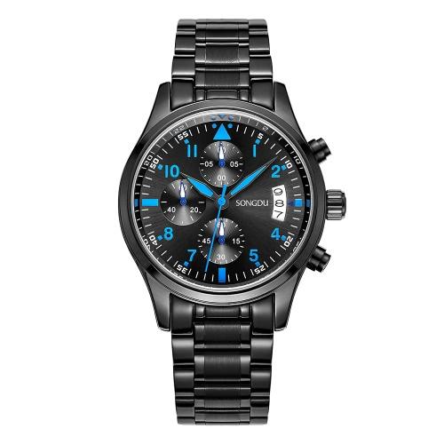 SONGDU Nuevo lujoso impermeable de lujo hombre reloj de pulsera casual