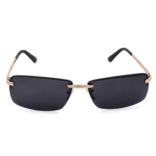 JOGAL Gafas de Sol de Lujo Polarizadas Gafas de Sol Conducción Hombre Hombre Moda Metal Frameless Retro Vintage Ligero UV400