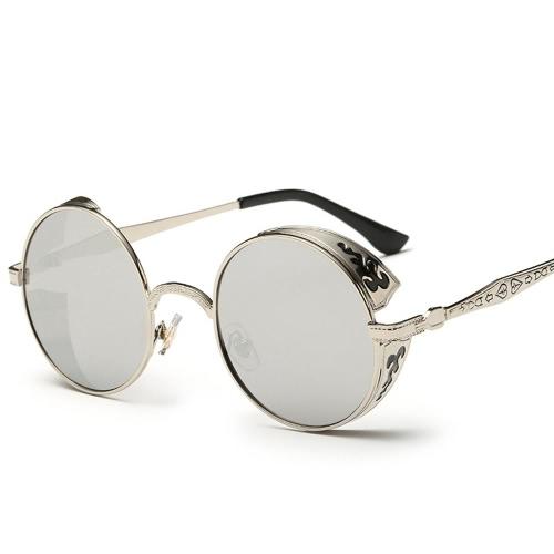 Óculos de sol clássicos Steampunk Euramerican Round Metal Esculpido Óculos de sol deslumbrantes Acessórios de moda