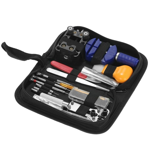 146PCS Professional Watch Repair Tool Kit Watchmaker Case Opener Link Remover Spring Bar Set W/ Carry Bag
