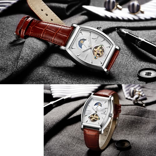 TEVISE Luxury Water-Proof Automatic Mechanical Men Watch Moon Phase Genuine Leather Self-Winding Man Casual Wristwatch + Box