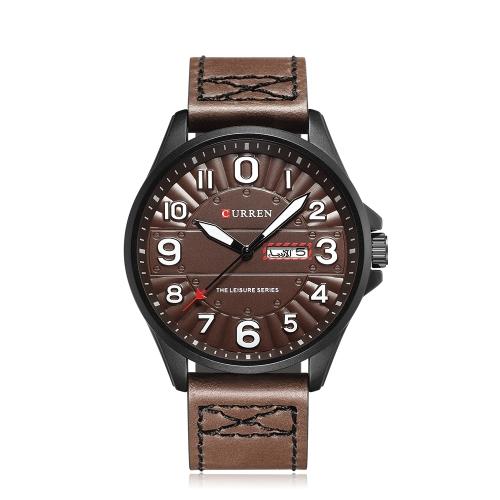 CURREN Reloj de cuarzo luminoso de lujo de moda para hombre Reloj a prueba de agua de cuarzo elegante de hombre Reloj de pulsera ocasional de cuarzo para hombre