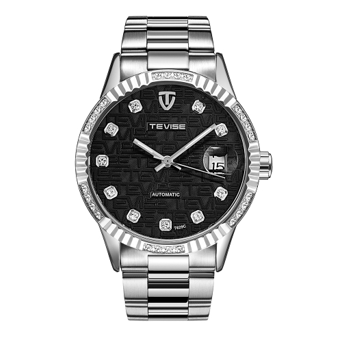 TEVISE Luxury Luminous Automatic Mechanical Men Watch reloj de pulsera de acero inoxidable a prueba de agua de hombre de acero inoxidable Self-Winding + caja
