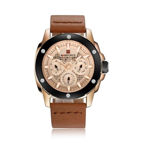 NAVIFORCE Luxury Luminous Quartz Digital Reloj de hombre a prueba de agua Deportes Military Man Reloj de pulsera casual de cuero genuino + Caja
