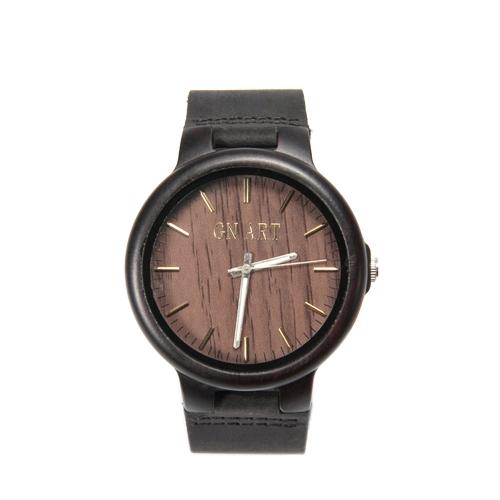 Novedad reloj de madera natural Minimalista hombres genuinos reloj de pulsera de moda negro hecho a mano con cierre de pulsera Relojes de cuarzo casual