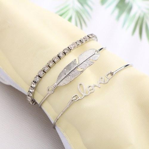 Fashion Simple 3Pcs Set Bracciale Arrow Bowknot Lettere Foglia Ananas Piuma Embedded Diamond Bracciali donna