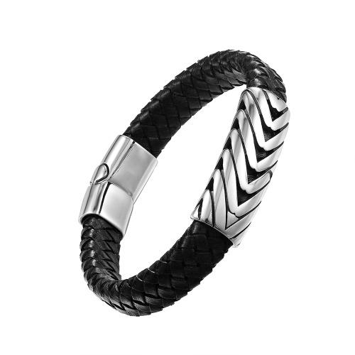 Mode Punk Rock Männer Armband Titan Edelstahl Manschette Armband Geflecht Seil Handgelenk Kette Schmuck
