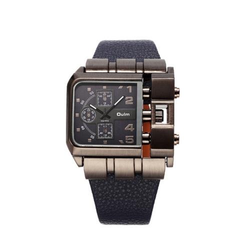OULM luxe montre à quartz hommes cadran carré en cuir bande montres masculines Antique montre-bracelet