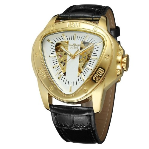 Winner Fashion Sports Triangle Dial Golden Skeleton Mysterious Watch Men Luxury Automatic Mechanical Wrist Watches