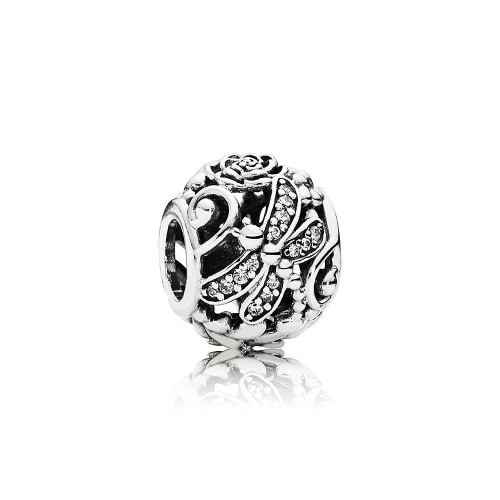 Romacci S925 plata hueco grano libélula y flor diamante CZ para 3mm Lucky Charm pulsera DIY mujeres fina joyería
