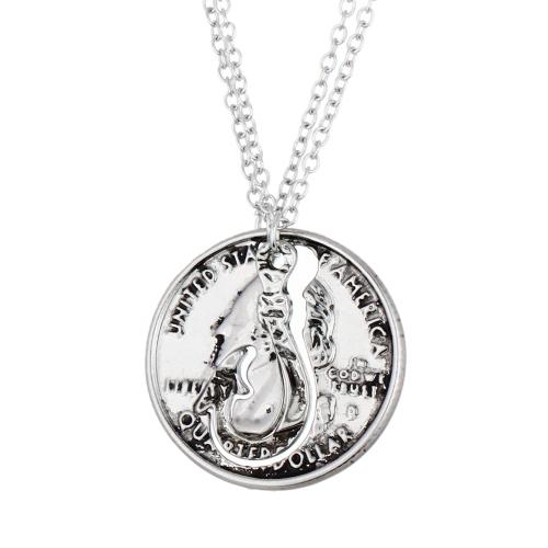 Retrato monedas colgantes collares de 2pcs belleza conjunto pulido plata antigua con langosta corchete de la joyería fina personalizada regalo para mejor amigo amante 45cm