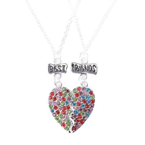 2 partes de 'Mejores amigos' rotos conjunto de collares colgantes en forma de corazón con el Rhinestone colorido langosta cierre personalizado regalo para amigos 45cm