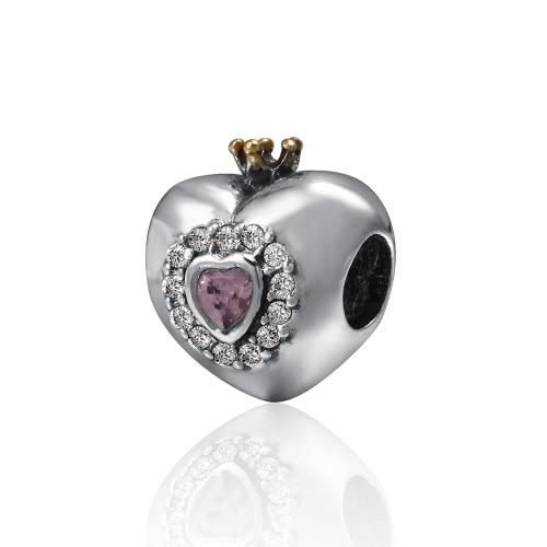 Romacci S925 plata electrochapada corazón perla con diamantes CZ y corona para 3mm Lucky Charm pulsera DIY mujeres finas joyas de Navidad