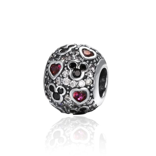 Romacci S925 plata electrochapada grano Mickey y amor corazones diamantes CZ para regalo de Navidad de 3mm pulsera/brazalete de la suerte mujeres fina DIY joyería