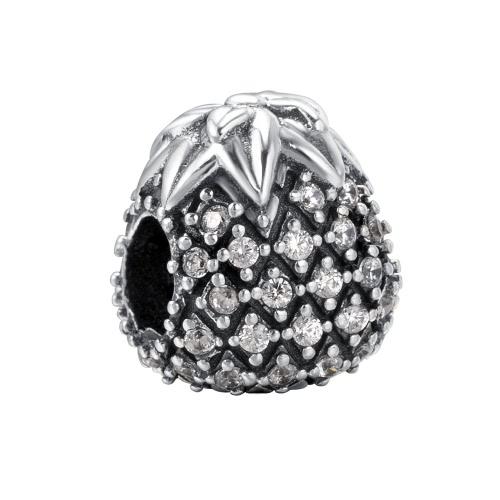 Romacci S925 plata piña Vintage encanto perla con diamante CZ brillante de 3mm pulsera brazalete moda DIY personalidad mujeres joyas regalo accesorio