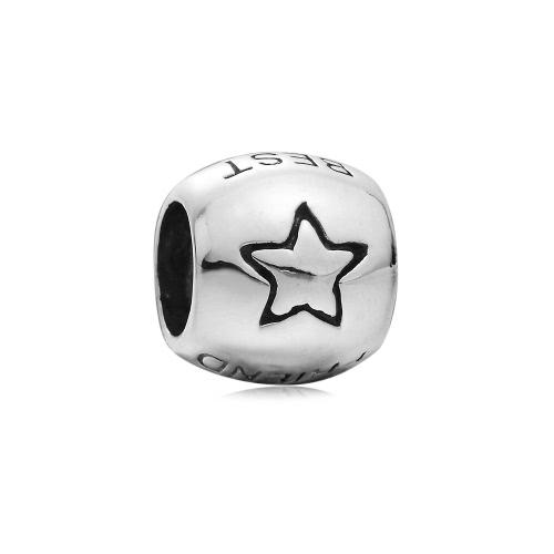 Romacci S925 plata bolas estrellas encanto europeo mejores amigos DIY para la pulsera brazalete collar de cadena de 3mm fino accesorio de la joyería de las mujeres