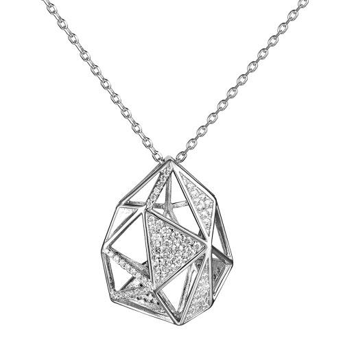 JURE S925 sólido prata esterlina cadeia Colar O One Jóias Zirconia 18 polegadas