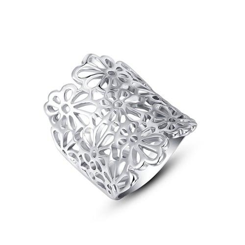 Joyería Roxi nueva manera caliente de la flor del hueco de oro chapado anillo único del diseño de joyería por mujeres novia Muchachas del regalo