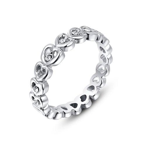 Roxi Fashion Cyrkon Kryształ Rhinestone Pozłacane Serce Zaprojektowany Pierścień Biżuteria dla kobiet Gift Engagement