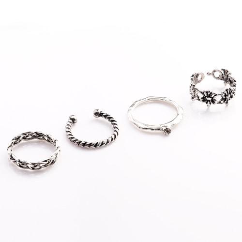 4 PC a la manera de la vendimia Nuevo caliente retro Anti-plata plateado nudillo del dedo anular del Conjunto joyería y accesorios para el partido de la venda muchachas de las mujeres