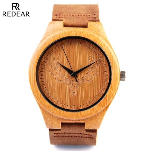 Redear natural sano de bambú Reloj de pulsera con el reno Dial Resistente de agua diario La simplicidad de moda del reloj del hombre de aniversario de boda