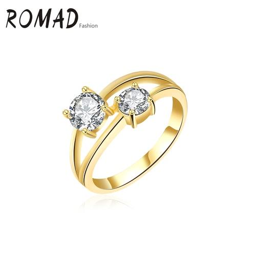 Charme Hot romad de forma original, Metal, Cobre banhado a ouro zircão Rhinestone anel de cristal para acoplamento do casamento festa de jóias Acessório Mulheres menina
