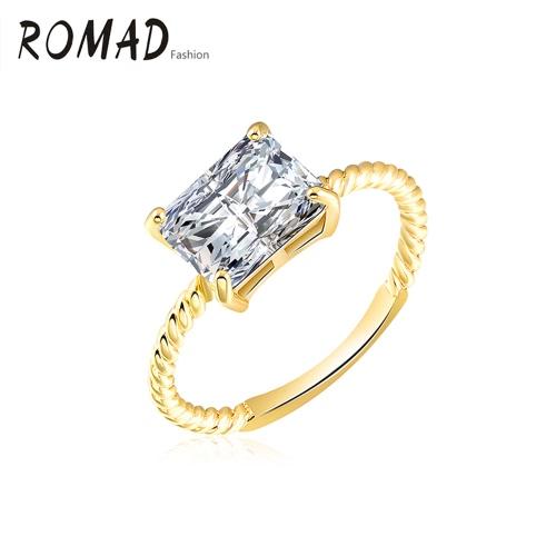 Anillo cristalino del oro Roxi Moda único el encanto de fundición del cobre plateado Zircon Rhinestone para la joyería del contrato del banquete de boda de accesorios muchacha de las mujeres