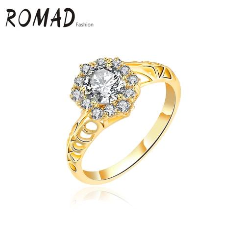 Anillo cristalino del oro Romad único de la manera del encanto de fundición del cobre plateado Zircon Rhinestone para la joyería del contrato del banquete de boda de accesorios del regalo del partido de la muchacha de las mujeres