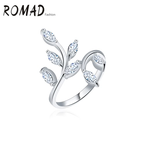 ROMAD Fashion Unique Hot Charm Metal Copper Gold Plated Zircon Rhinestone Crystal Ring for Party Wedding Engagement Jewelry Accessory Women Girl Gift