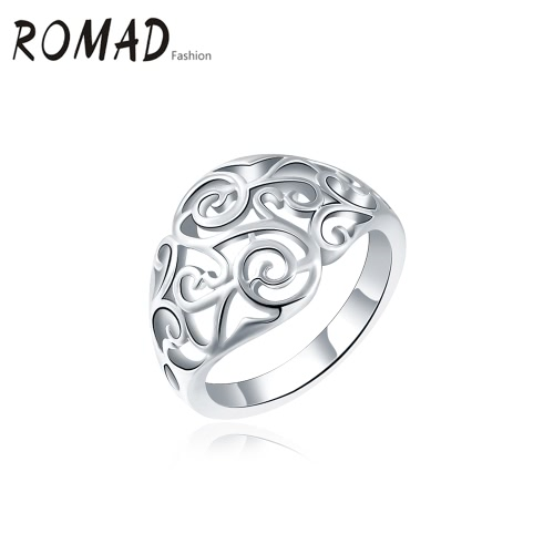 ROMAD Fashion Unique Hot Charm Metal Copper Gold Plated Hollow Ring for Party Wedding Engagement Jewelry Accessory Women Girl