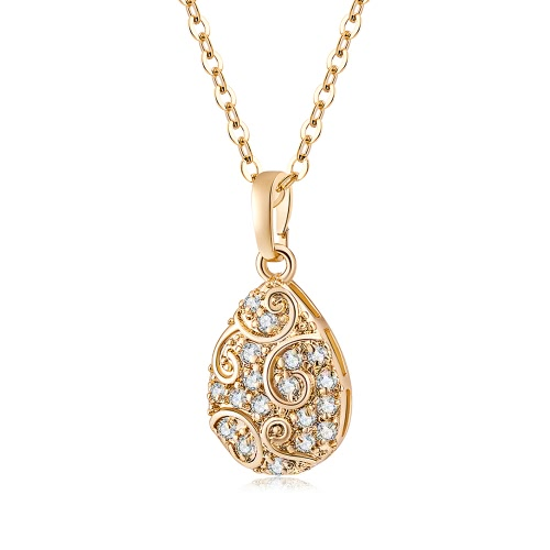 New Fashion Popular Jewelry Gold Plated The White Crystal Mulheres Encantadora Water-Drop Colar Pingente Corrente