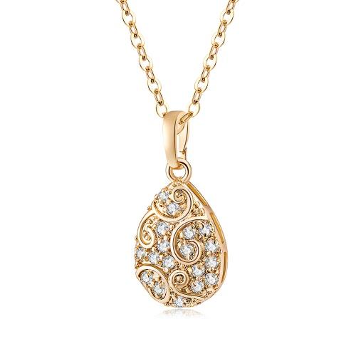 Nowa moda popularna biżuteria złocista Białe kryształowe kobiety Uroczy naszyjnik z wisiorka do łańcuszka